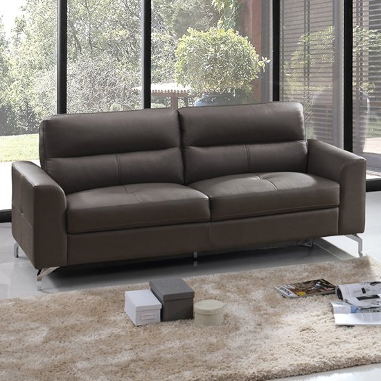 Tanaro Leathaire Fabric 3 Seater Sofa In Grey