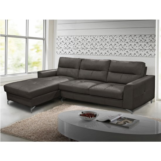 Tanaro Leathaire Fabric Left Handed Corner Sofa Bed In Grey