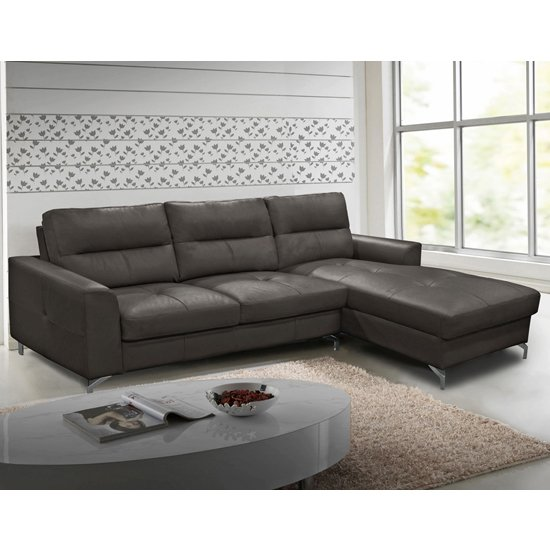 Tanaro Leathaire Fabric Right Handed Corner Sofa Bed In Grey_1