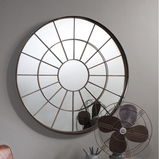 Tangent Metal Wall Mirror Round In Bronze Effect