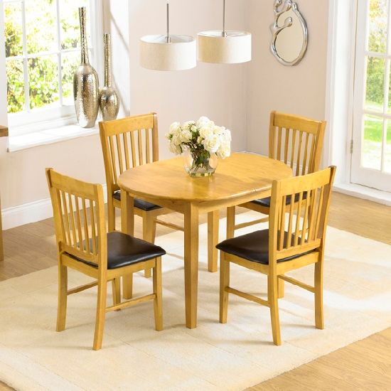 Tango Extendable Wooden Dining Set With 4 Dining Chairs