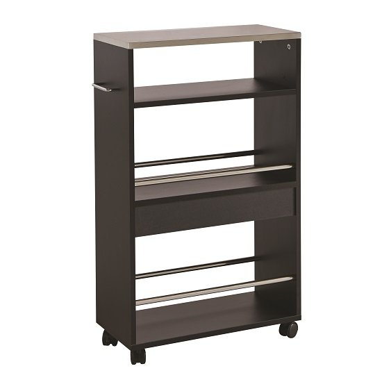 Tango Storage Trolley In Black With Shelves And 4 Castors