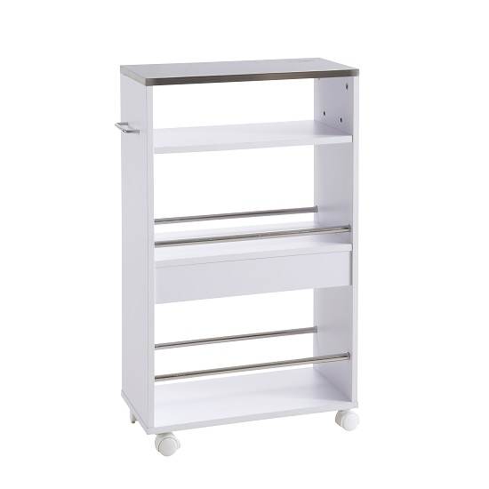 Tango Storage Trolley In White With Shelves And 4 Castors