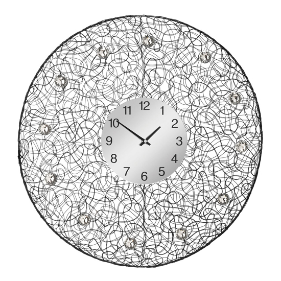 Tangrow Diamante Details Wall Clock In Black