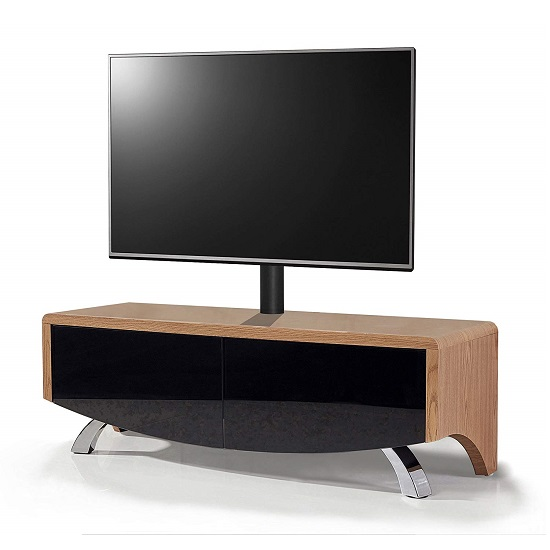 Tansey TV Stand In Satin Oak And Black With Chrome Legs