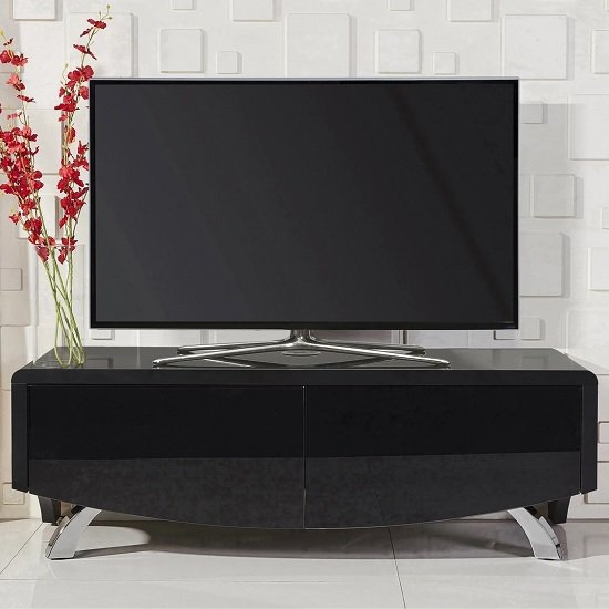 Tansey Wooden TV Stand In Satin Black With Chrome Legs
