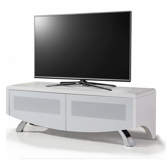 Tansey Wooden TV Stand In Satin White With Chrome Legs