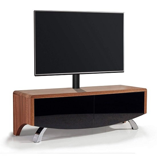 Tansey TV Stand In Satin Black And Walnut With Chrome Legs