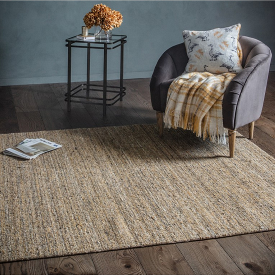 Tapeek Polyster And Wool Fabric Rug In Ochre And Grey