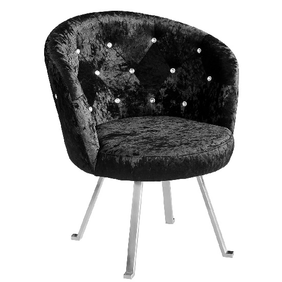 Tarent Leisure Chair In Black Crushed Velvet With Chrome Legs