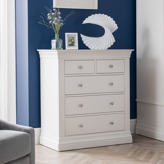 Tassio Wooden Tall Chest Of Drawers In White Lacquer