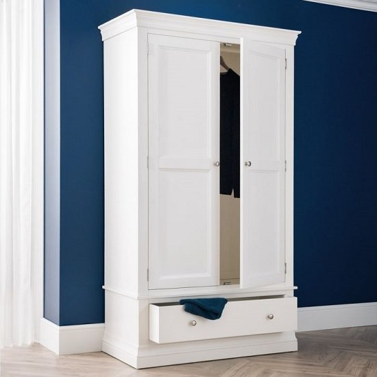 Tassio Wooden Wardrobe In White Lacquer With Two Doors