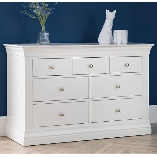 Tassio Wooden Wide Chest Of Drawers In White Lacquer