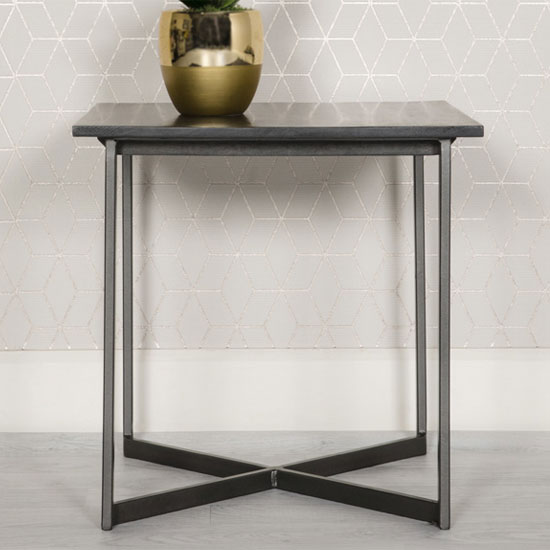 Tate Wooden End Table In Grey With Steel Frame