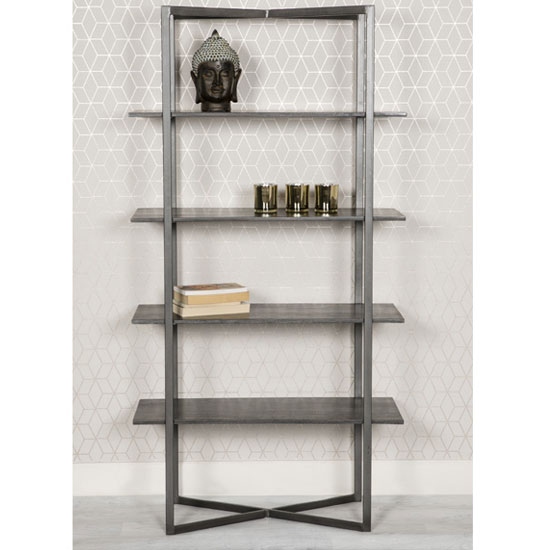 Tate Wooden Large Bookcase In Grey With Steel Frame