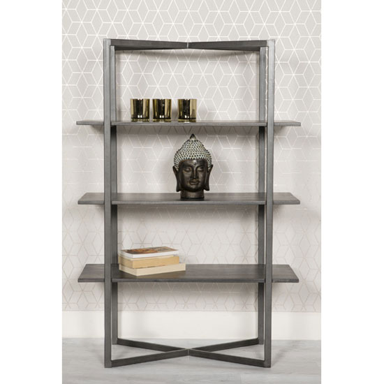 Tate Wooden Low Bookcase In Grey With Steel Frame_1