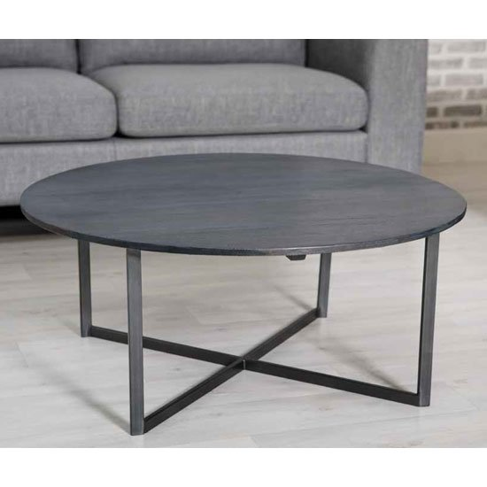 Tate Wooden Round Coffee Table In Grey With Steel Frame