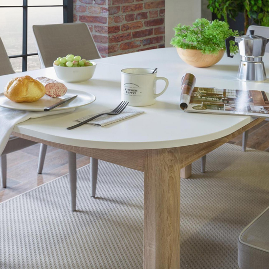 Taurus Extending Dining Table In White And Sonoma Oak ...