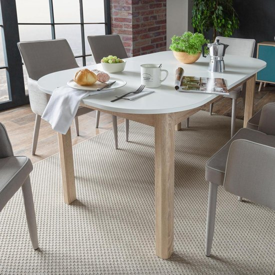 Taurus Extending Dining Table In White And Sonoma Oak_5