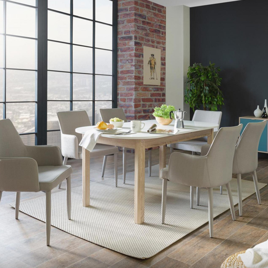 Taurus Extending Dining Table In White And Sonoma Oak_6