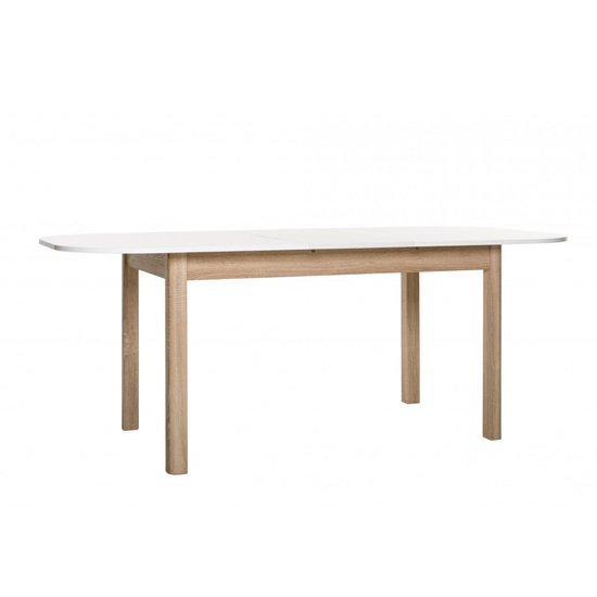 Taurus Extending Dining Table In White And Sonoma Oak_1