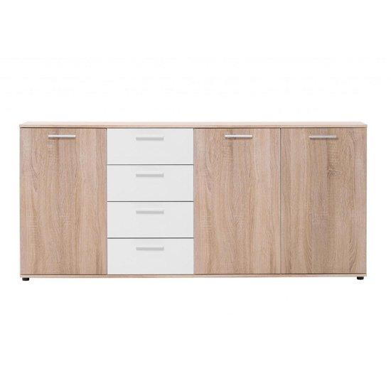 Taurus Large Wooden Sideboard In White And Sonoma Oak