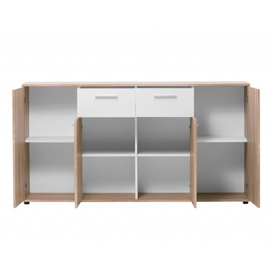 Taurus Wooden Sideboard In White And Sonoma Oak_3