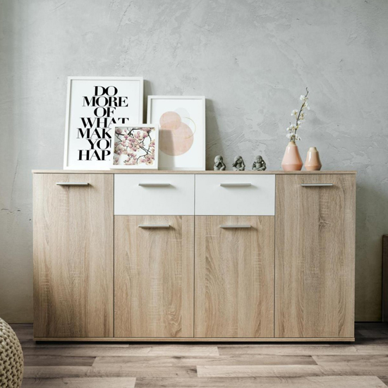 Taurus Wooden Sideboard In White And Sonoma Oak_1