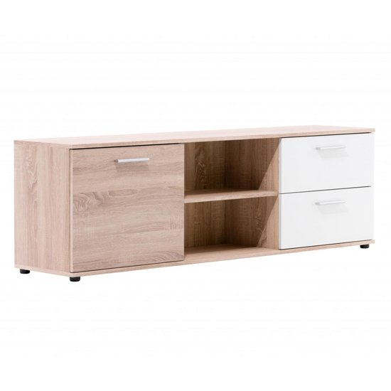 Taurus Wooden TV Stand In White And Sonoma Oak_2