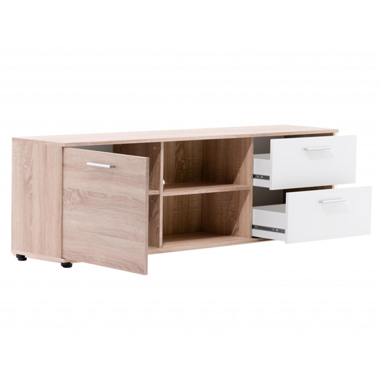 Taurus Wooden TV Stand In White And Sonoma Oak_3