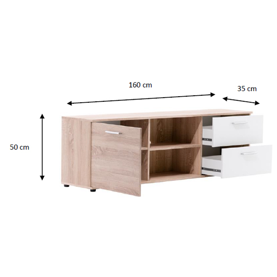 Taurus Wooden TV Stand In White And Sonoma Oak_4