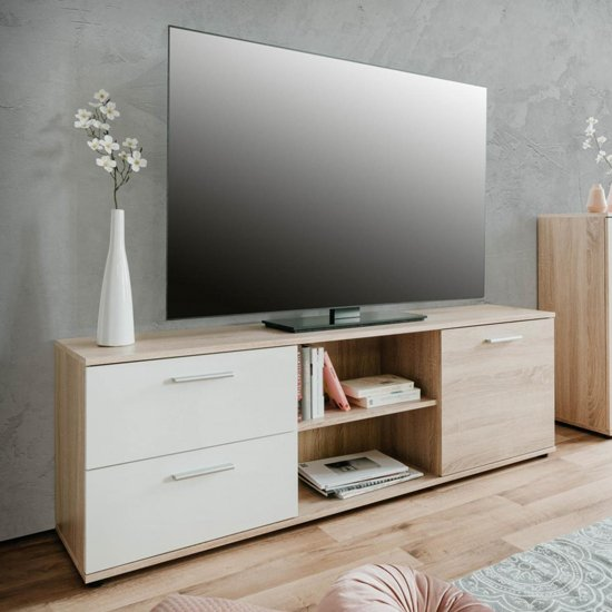Taurus Wooden TV Stand In White And Sonoma Oak
