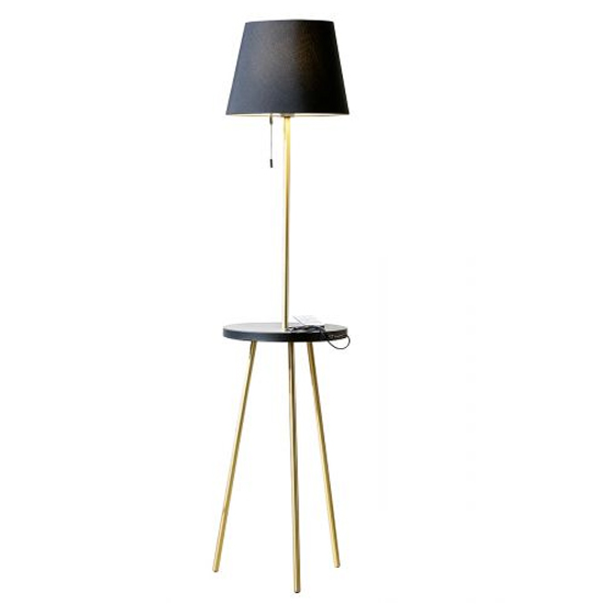 Tavolo Floor Lamp In Gold And Black With Wood Stand_2