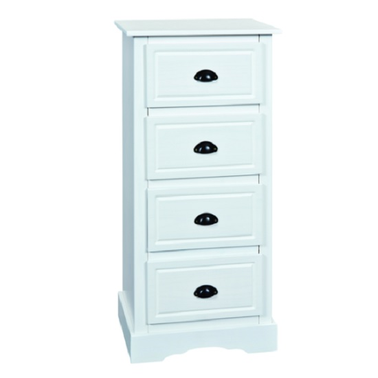 Taylor Wooden Tall Chest of Drawers In White With 4 Drawers
