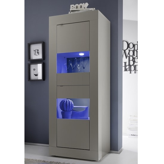 Taylor Display Cabinet In Matt Beige With 2 Doors And LED