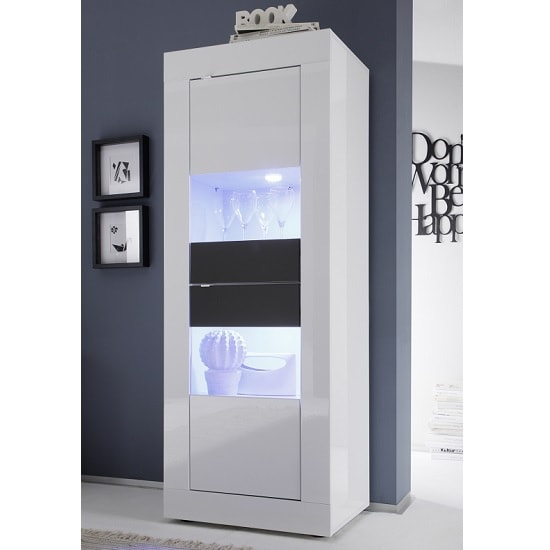 Taylor Display Cabinet In White Anthracite High Gloss And LED