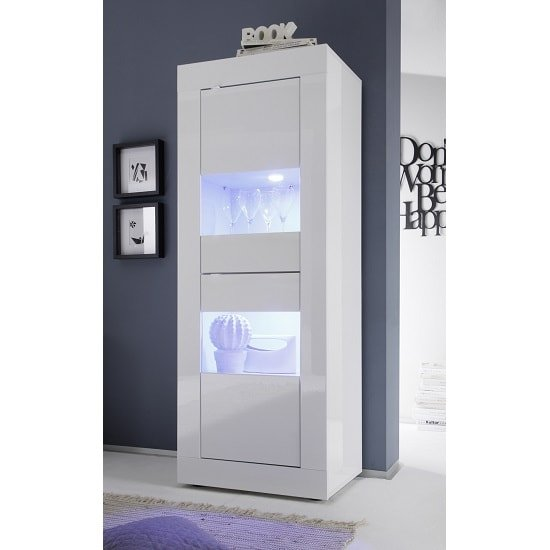 Taylor Display Cabinet In White High Gloss With 2 Doors And LED