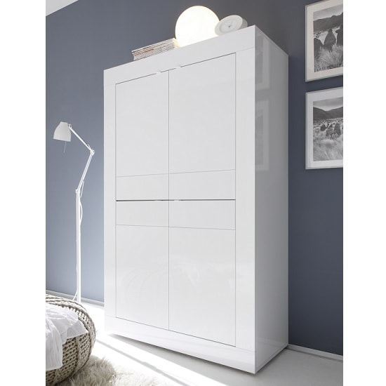 Taylor Storage Cabinet In White High Gloss With 4 Doors