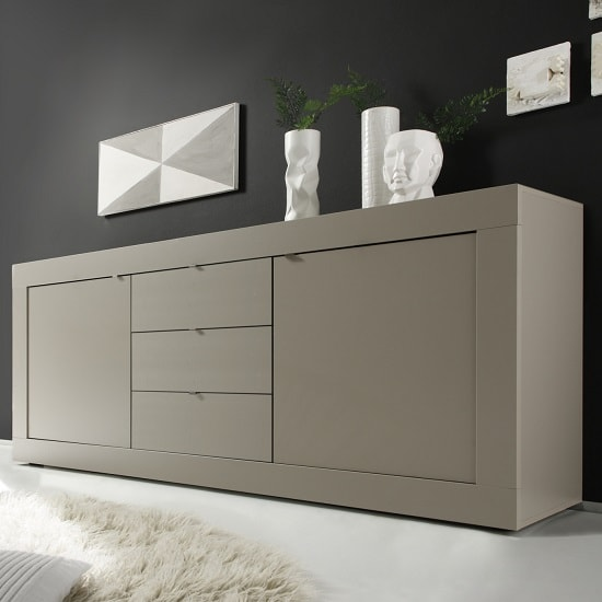 Taylor Modern Sideboard In Matt Beige With 2 Doors And 3 Drawers