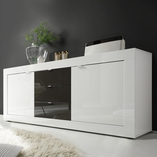 Taylor Large Sideboard In White And Anthracite High Gloss