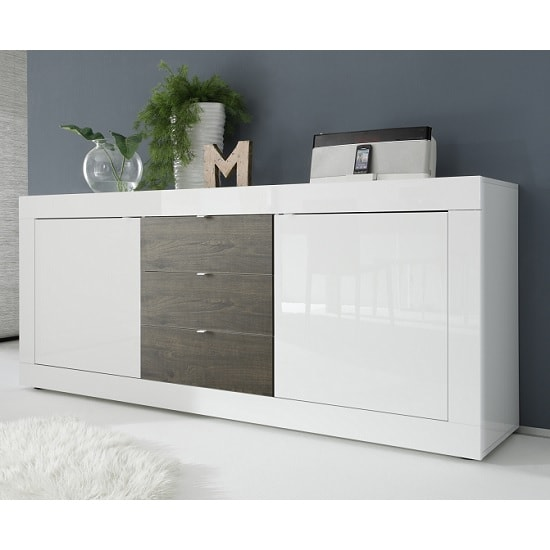Taylor Large Sideboard In White High Gloss And Wenge