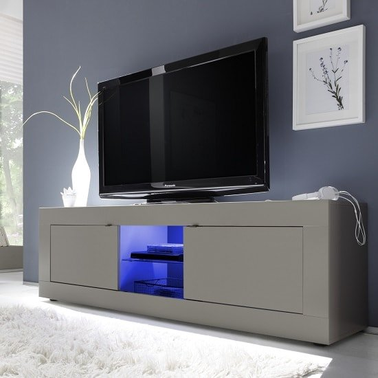 Taylor TV Stand Large In Matt Beige With 2 Doors And LED