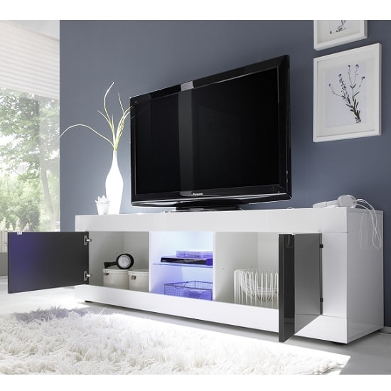 Taylor Living Room Set In White Anthracite High Gloss With LED_3