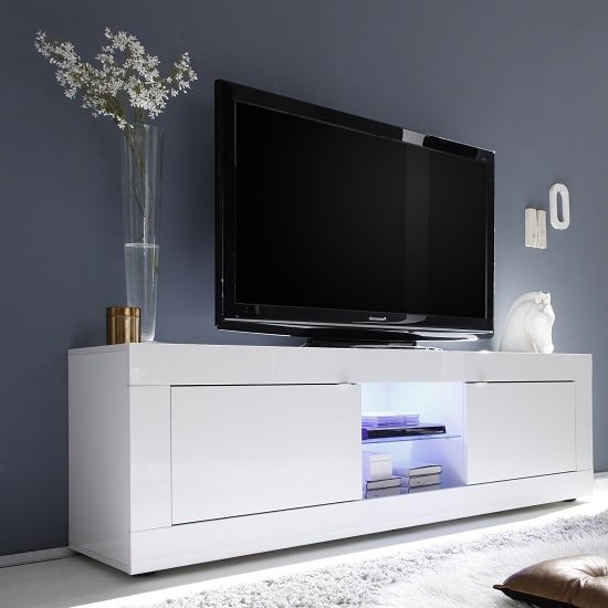 Taylor TV Stand Large In White High Gloss With 2 Doors And LED_1