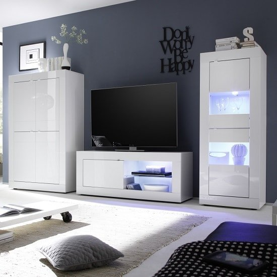 Image of Taylor Living Room Set In White High Gloss With LED Lighting