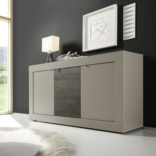 Taylor Contemporay Sideboard In Matt Beige And Wenge With 3 Door