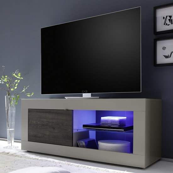 Taylor TV Stand In Matt Beige And Wenge With 1 Door And LED