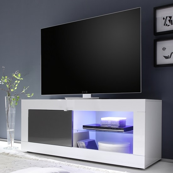 Taylor TV Stand In White And Anthracite High Gloss With LED