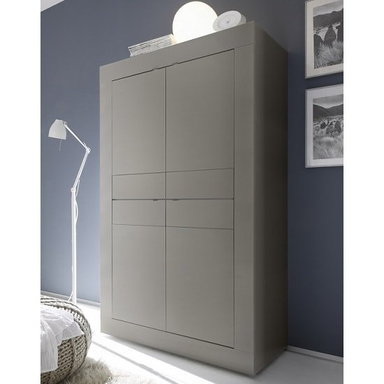 Taylor Modern Storage Cabinet In Matt Beige With 4 Doors