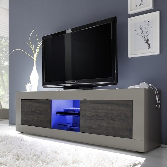 Taylor TV Stand Large In Matt Beige And Wenge With LED